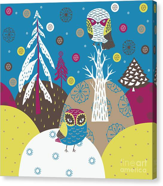 Winter Fun Canvas Print - Christmas Forest by Lavandaart