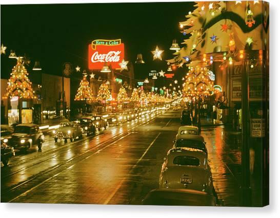 Christmas In La Canvas Print by Harvey Meston