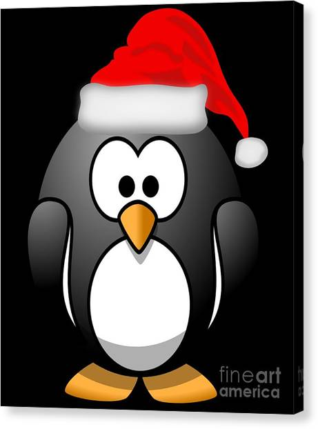 Canvas Print featuring the digital art Christmas Santa Penguin by Flippin Sweet Gear
