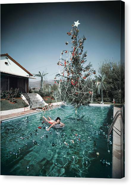 Christmas Swim Canvas Print