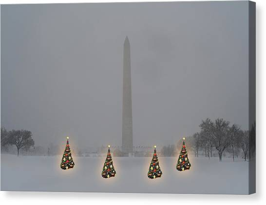 Christmas Trees Around The Monument Canvas Print
