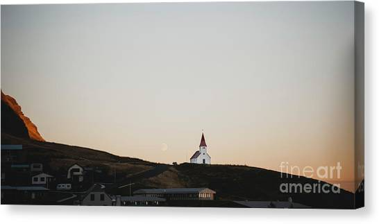 Church On Top Of A Hill And Under A Mountain, With The Moon In The Background. Canvas Print