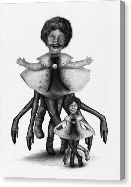Cindy And Her Monstrous Doll - Artwork Canvas Print