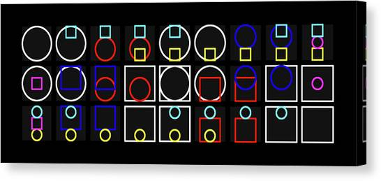 Circ-uare Alphabet Colour Canvas Print