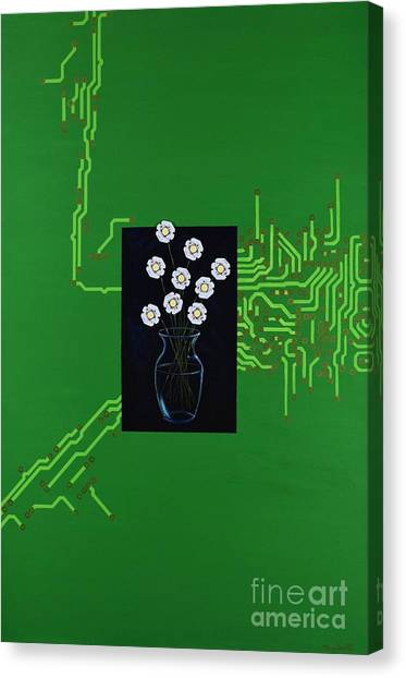 Canvas Print featuring the painting Circuit Board Bouquet by Mary Scott