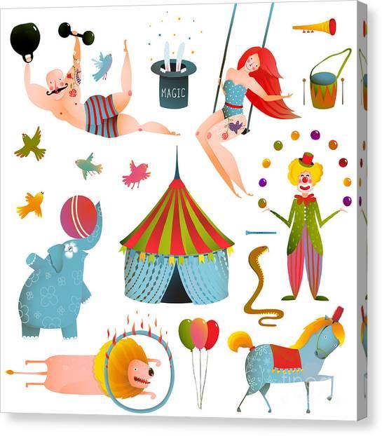 Clown Art Canvas Print - Circus Carnival Show Clip Art Vintage by Popmarleo