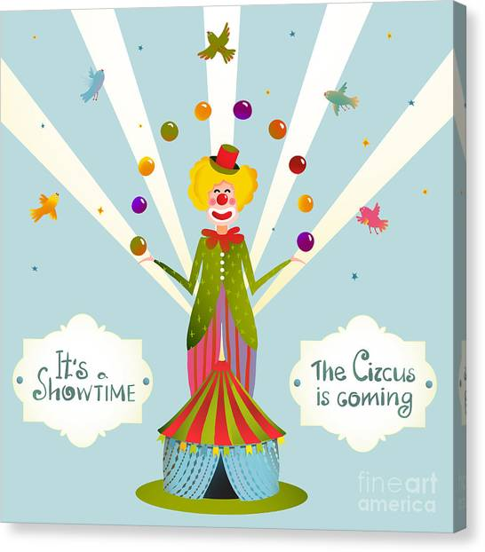 Balls Canvas Print - Circus Juggling Clown Carnival Show by Popmarleo
