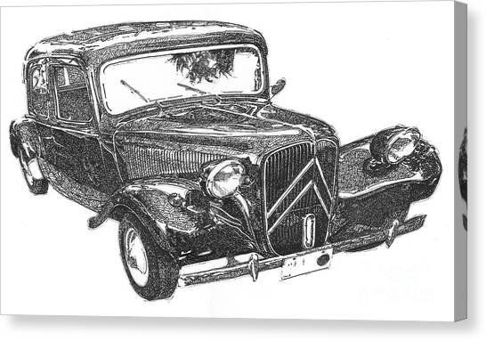 Arte Canvas Print - Citroen 11b 1956, Classic Car, Ink Drawing, Office Decoration by Drawspots Illustrations