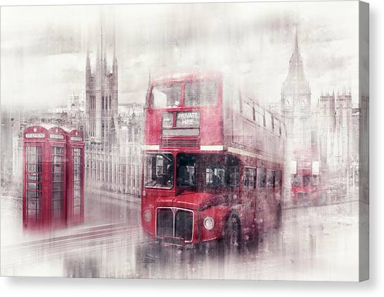 Palace Of Westminster Canvas Print - City-art London Westminster Collage II by Melanie Viola
