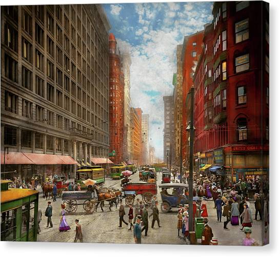 Canvas Print featuring the photograph City - Chicago Il - Marshall Fields Company 1911 by Mike Savad