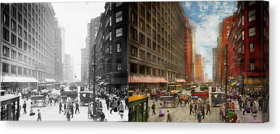 Canvas Print featuring the photograph City - Chicago Il - Marshall Fields Company 1911 - Side By Side by Mike Savad