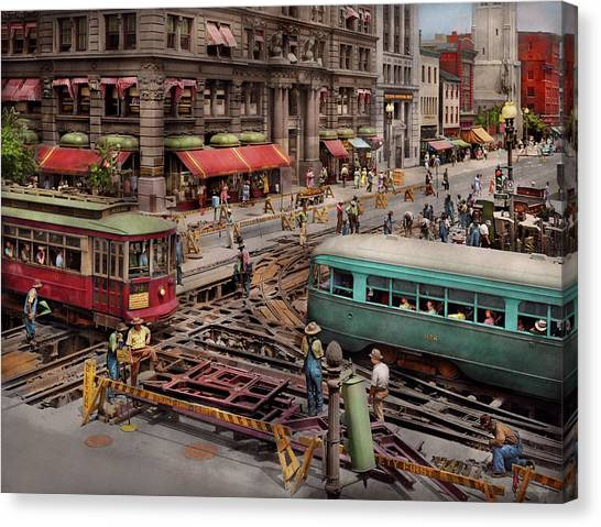 Canvas Print featuring the photograph City - Dc - Road Closed For Repairs 1941 by Mike Savad