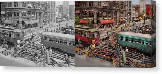 Canvas Print featuring the photograph City - Dc - Road Closed For Repairs 1941 - Side By Side by Mike Savad