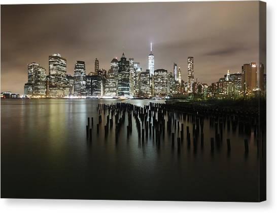 City Lit Up At Night Canvas Print by Damien Gavios / Eyeem