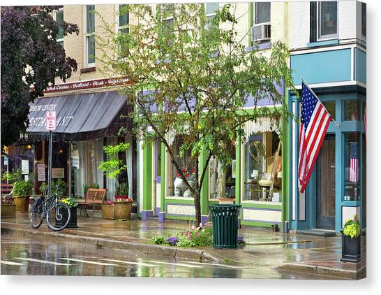 Canvas Print featuring the photograph City - Owego Ny - On A Rainy Day by Mike Savad