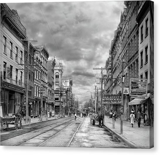 Canvas Print featuring the photograph City - Poughkeepsie Ny - The Ever Changing Market Place 1906 - Black And White by Mike Savad
