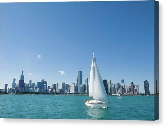 City Skyline From Lake Michigan Canvas Print