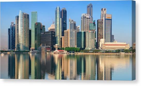 City Skyline - Singapore After Sunrise Canvas Print by Hadynyah