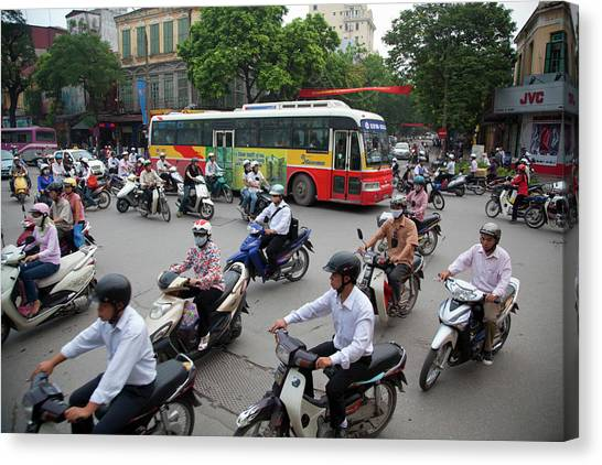 City Traffic At Rush Hour, Hanoi Canvas Print by Grant Faint