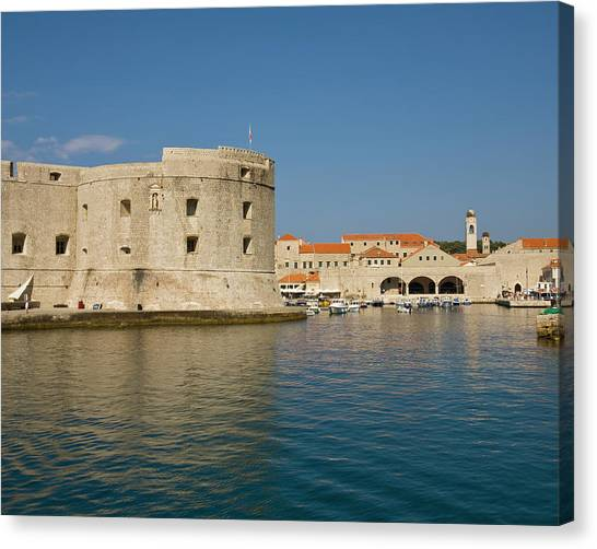 City Walls And Old Harbor, Dubrovnik Canvas Print