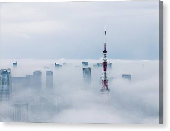 Cityscape And Tokyo Tower Covered In Canvas Print by Tomoaki Nozawa / Eyeem