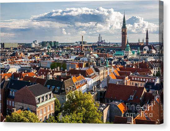 Urban Life Canvas Print - Cityscape Of Copenhagen From The Round by Bucchi Francesco