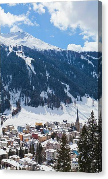 Cityscape Of Davos, Grisons, Switzerland Canvas Print
