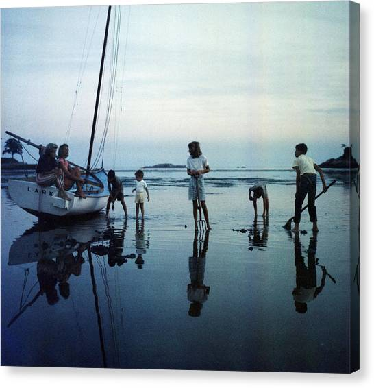 Low Tide Canvas Print - Clam Diggers by Slim Aarons