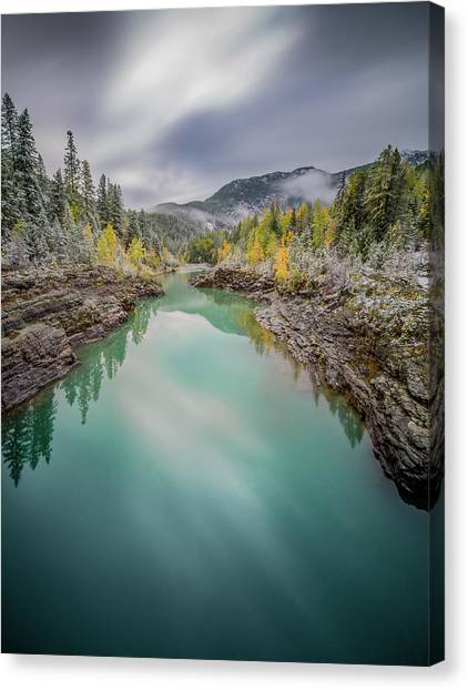Clash Of Seasons / Flathead River, Glacier National Park  Canvas Print