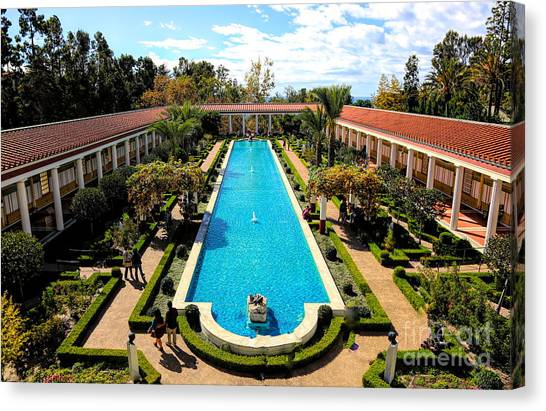 J Paul Getty Canvas Print - Classic Awesome J Paul Getty Architectural View Villa  by Chuck Kuhn