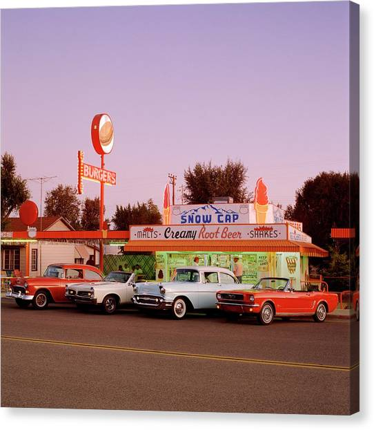Classic Cars At Delgadillo Snow Cap In Canvas Print