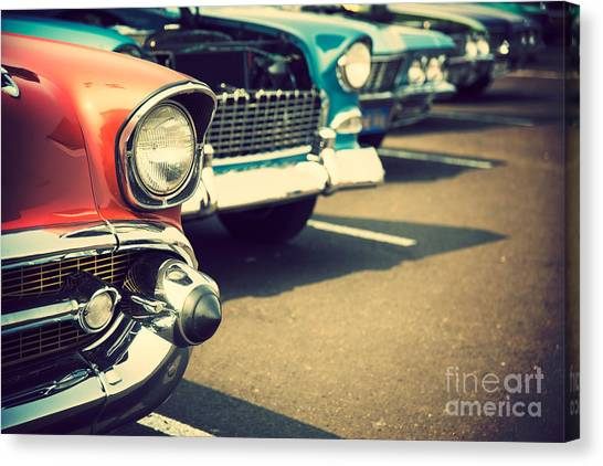 Classic Cars In A Row Canvas Print by Topseller