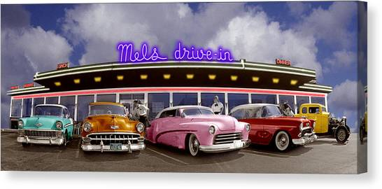 Cl Ic Cars Outside Drive In Diner Canvas Print By Annabelle Breakey