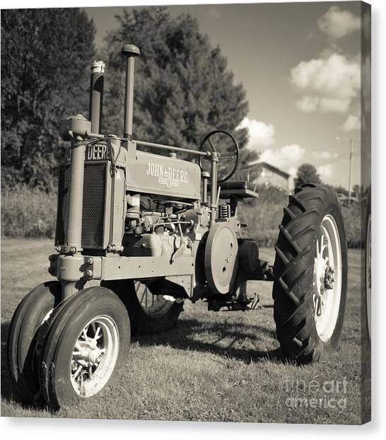 John Deere Canvas Print - Classic Old Tractor Stowe Vermont Square by Edward Fielding