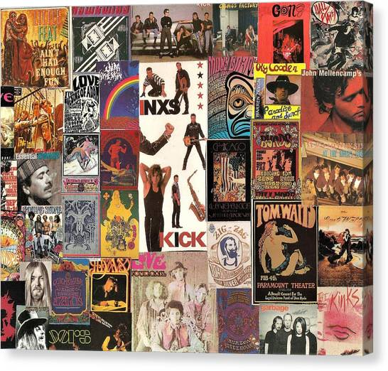 Leon Russell Canvas Print - Classic Rock Collage 3 Featuring Inxs by Doug Siegel