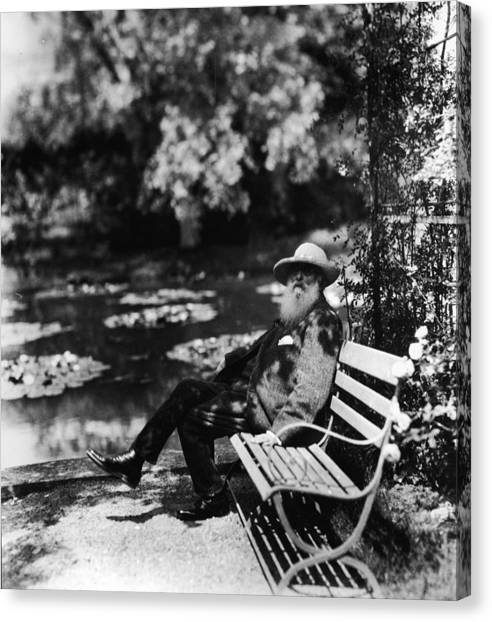 Casual Canvas Print - Claude Monet Sitting On Park Bench by Hulton Archive