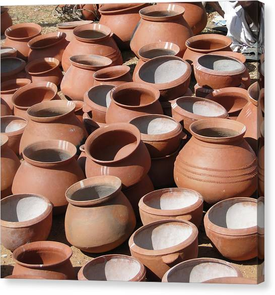 Clay Pots  For Sale In Chatikona  Canvas Print