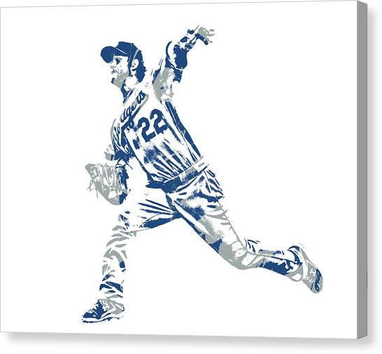 Los Angeles Dodgers Canvas Print - Clayton Kershaw Los Angeles Dodgers Pixel Art 30 by Joe Hamilton