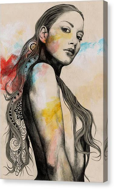 Long Hair Canvas Print - Cleansing Undertones - Zentangle Nude Girl Drawing by Marco Paludet