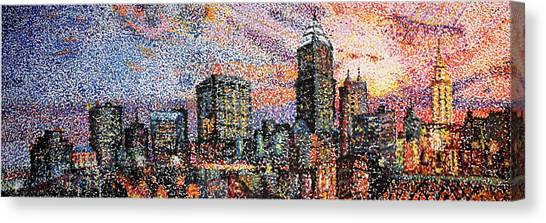 Kyrie Irving Canvas Print - Cleveland Skyline by Patrick Geyser