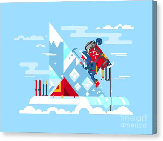 Ice Climbing Canvas Print - Climber Conquers The Summit. Mountain by Kit8.net