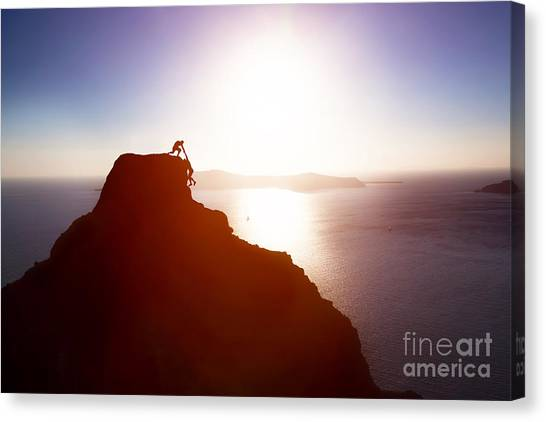 Mountain Climbing Canvas Print - Climber Giving Hand And Helping His by Photocreo Michal Bednarek