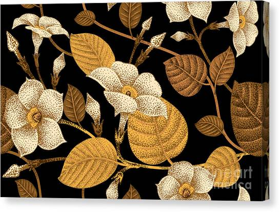 Blooms Canvas Print - Climbing Plant Ivy. Seamless Floral by Mamita