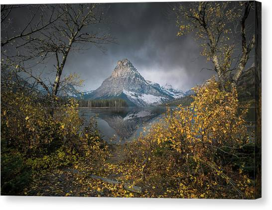 Clinging On / Late Fall / Two Medicine Lake, Glacier National Park  Canvas Print