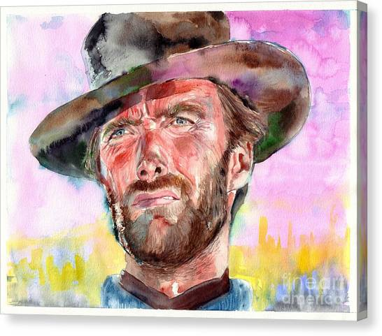 Spaghetti Canvas Print - Clint Eastwood Portrait by Suzann's Art