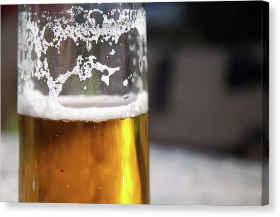 Close Up Of A Glass Of Lager Canvas Print