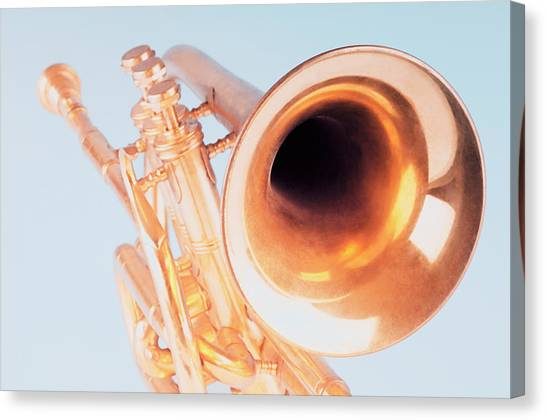 Close-up Of A Trumpet Canvas Print by Photosindia