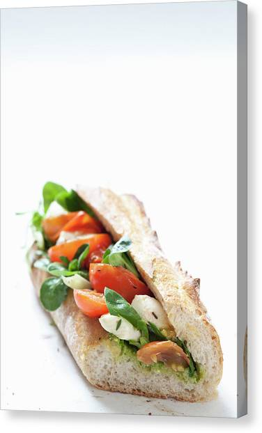 Buns Canvas Print - Close Up Of Cheese And Tomato Sandwich by Henn Photography