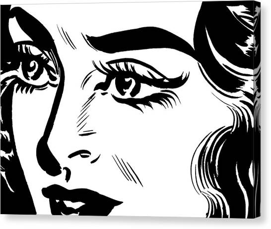 Close Up Of Dark Haired Woman Canvas Print