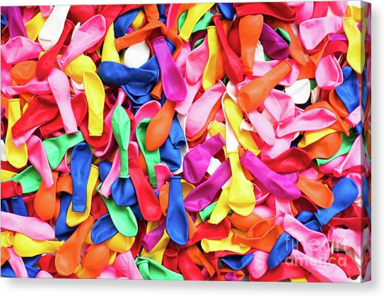 Close-up Of Many Colorful Children's Balloons, Background For Mo Canvas Print
